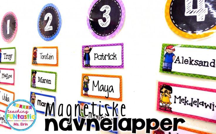 Blogginnlegg om navnemerking i klasserommet fra Ms.Eirin (Teaching FUNtastic). 3 freebies inkludert :)