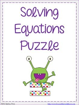 Solving Equations With Integers Puzzle Education Solving