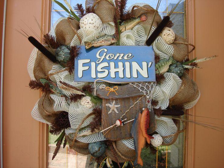 Deco Mesh Gone Fishing Wreath Wreaths Pinterest