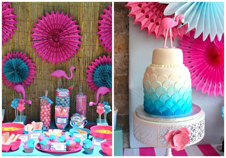 Decoração de festa criativa para meninas flamingos pink party