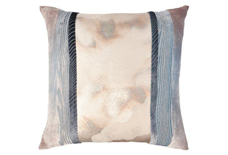 Japanese Obi 18x18 Velvet Pillow, Blue