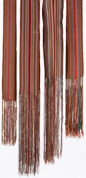 The Métis or L'Assomption Sash has become the most recognizable part of Métis dress; the first sashes were used as back supports for the voyageurs in their canoes.  The hand-woven sashes were made of brightly coloured wool, mainly red and blue.  Certain colours and patterns represented different families.