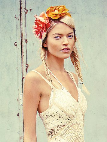 Free People Floral Braided Headdress #weddinghair #weddinginspiration