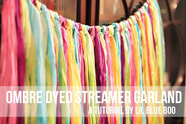Ombre Dyed Streamer Garland - DIY Tutorial: Dyed Streamers, Diy Ombre Garlands, Idea, Diy Tutorials, Ombre Dyed, Streamers Garlands, Silk Ribbons, Photography Props, Ribbons Garlands