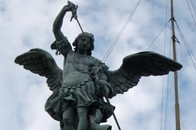 Learn the Guardian Angel Prayer: This bronze statue of Saint Michael the Archangel, executed by Flemish sculptor Peter Anton von Verschaffelt in 1753, stands atop the Castel Sant'Angelo in Rome, Italy.