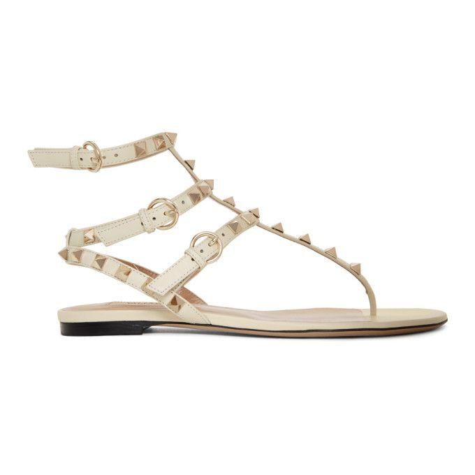 VALENTINO   Ivory Valentino Garavani Rockstud Cage Sandals #Shoes #Flat sandals #VALENTINO