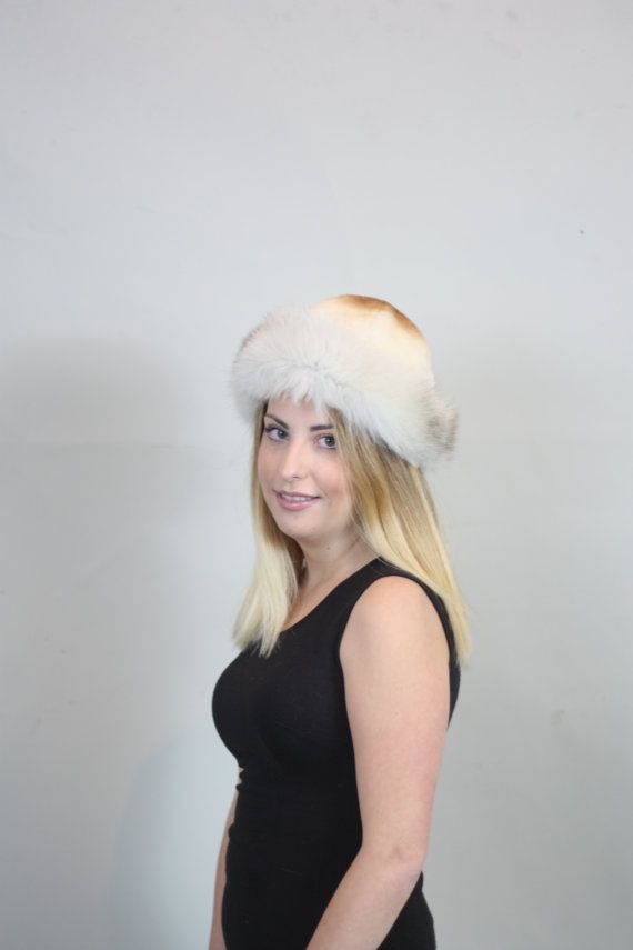 Luxury gift/Caramel beaver/white grey Fox Fur/ Hat by skffurs