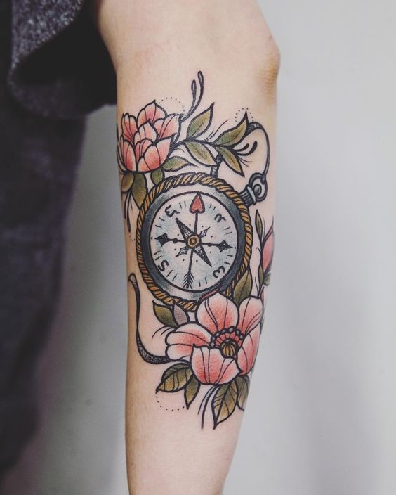 Awesome Flowers And Compass Tattoo On Arm Sleeve