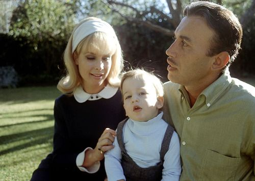 Barbara Eden, Michael Ansara & son Matthew Ansara in the backyard of their California home, late 60s.
