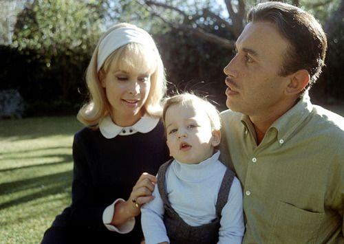 Barbara Eden, Michael Ansara & son Matthew Ansara in the backyard of their California home, late 60s.