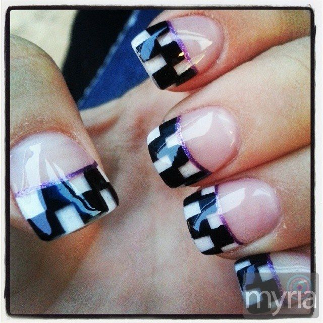 Glossy checkered flag manicure design