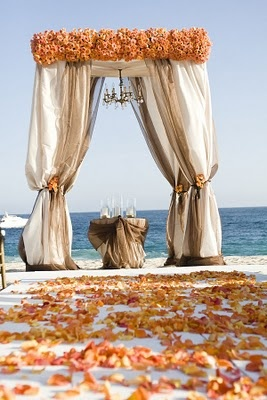 Orange and Champagne Wedding Ceremony Canopy/Chuppah