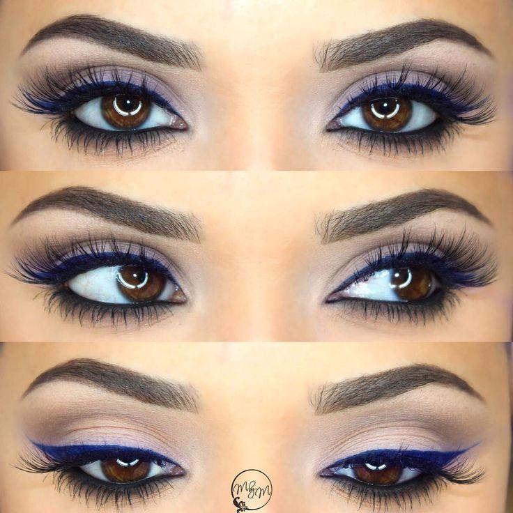 navy blue liner, dark smokey lower lashline, neutral eye @makeupbymeggan | #winged eyeliner makeup