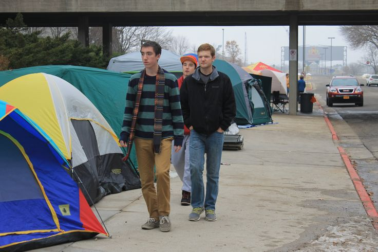 Iowa State University students set up more than 70 tents around Hilton Coliseum on Friday as students camped outside for tickets to the men's basketball game against Kansas in January. Photo by Anthony Capps/Ames Tribune