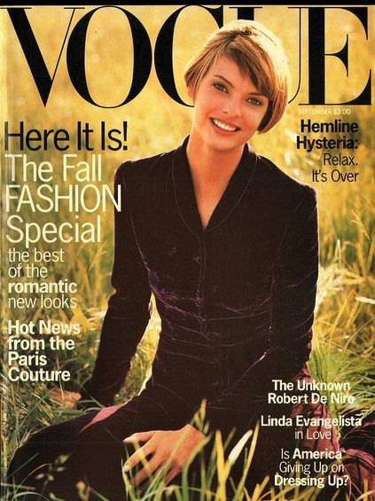 Linda Evangelista in a beautiful purple velvet suit. Vogue September 1993