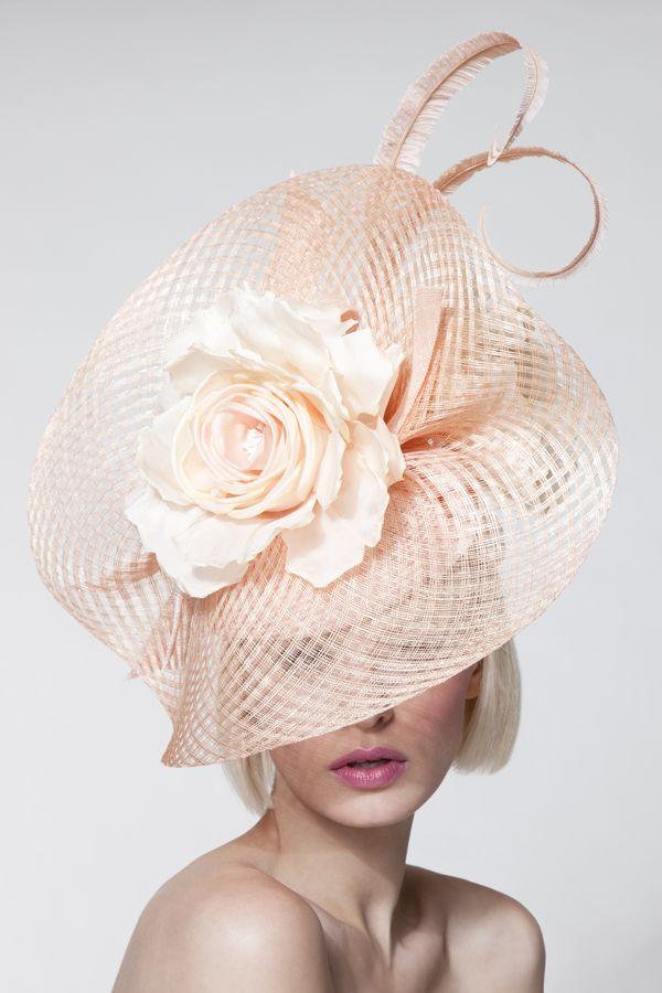 Dillon Wallwork - Apricot fluted lurex sinamay visor trimmed with silk roses and clipped ostrich feathers. #millinery #judithm #hats