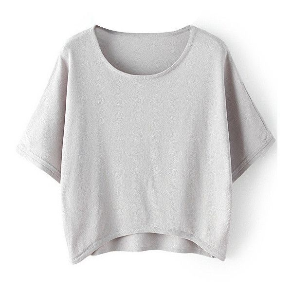 LUCLUC High Low Gray Batwing Sleeve Knit T-shirt ($19) ❤ liked on Polyvore featuring tops, t-shirts, grey t shirt, grey tee, batwing sleeve top, knit tee and bat sleeve tops