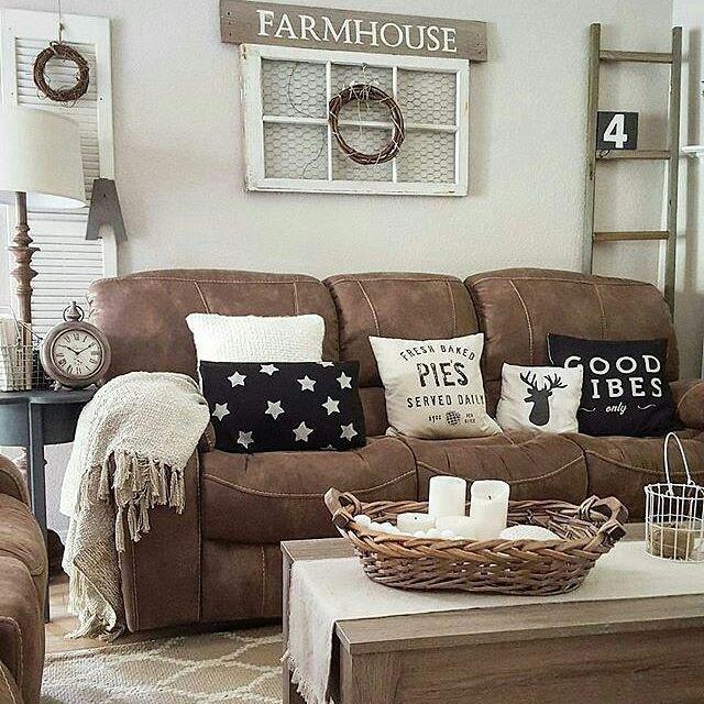 Microfiber Couch Farmhouse Living Room Decor Ideas No 4