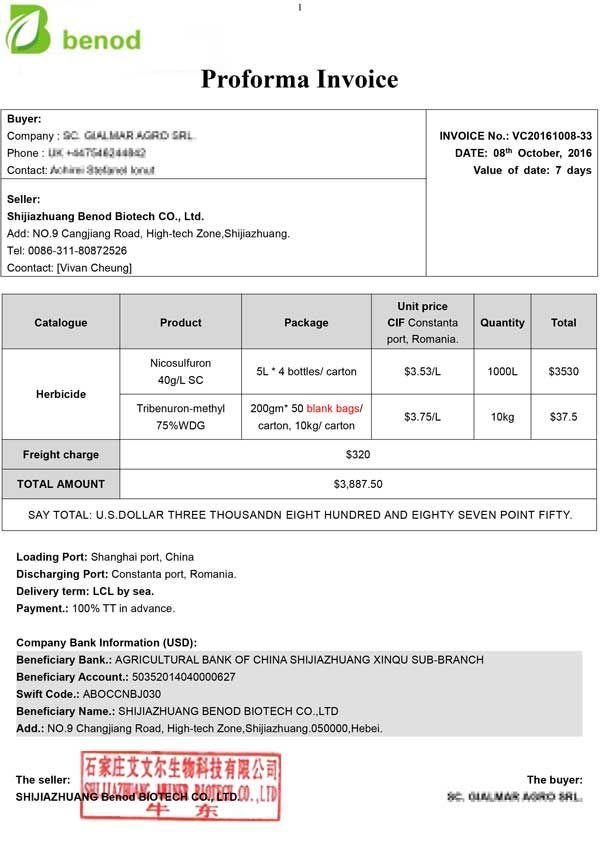 pest control proforma invoice