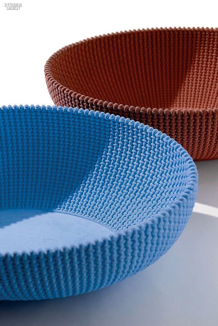 La Trama e l'Ordito concrete bowls in blue and deep red by Alessi