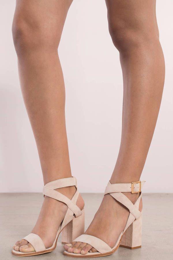 Sitara Suede Open Toe Ankle Strap Heel  at Tobi.com #shoptobi