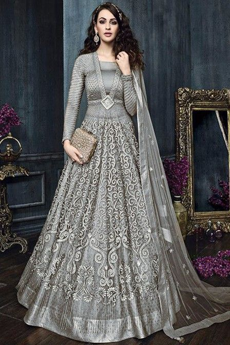 fcb584772d0e Grey Color Attractive Indian Bride Wedding Wear Fancy Embroidered Gorgeous  Look Floor Length Heavy Pant & Lehenga Style Suit
