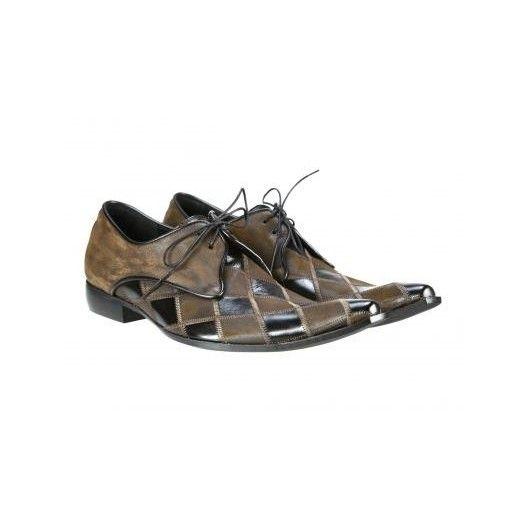 Pánske kožené extravagantné topánky čiernohnedé PT040 - manozo.hu