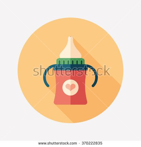 Baby bottle with handles flat round icon with long shadows. #love #loveillustration #flaticons #vectoricons #flatdesign