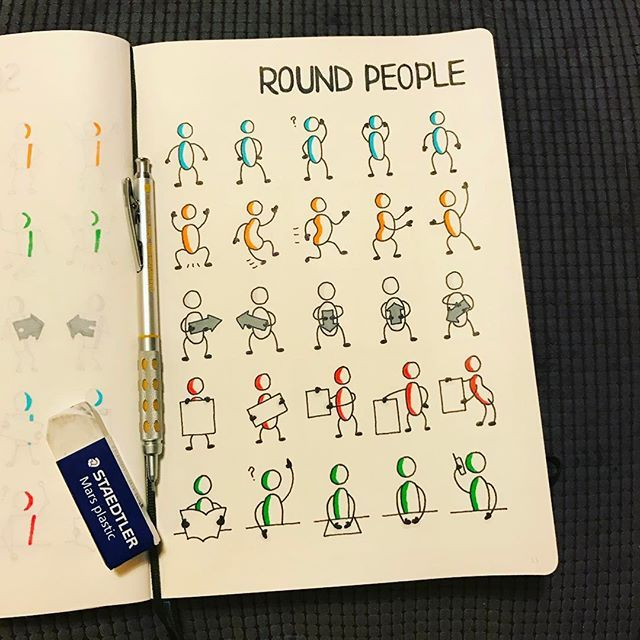via @morganhlane on Instagram @therevisionguide Catching up on the last 3 weeks, here are my round people! #revisionguide_52wvv #52wvv_week5 #doodles #sketching #cartoons #sketchnotes #visualthinking #leuchtturm1917 #copicmarkers #kurecolor #graphgear1000