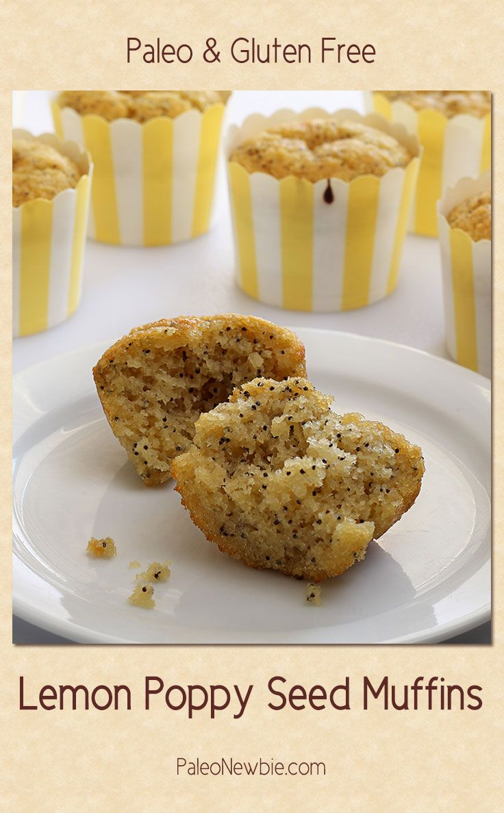 Light and citrusy with a little poppy seed kick, this little lemon muffin packs a lot of natural flavor. Super-easy recipe.  #paleo #glutenfree