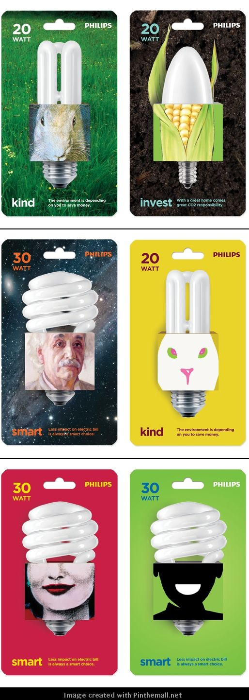 These were being pinned piecemeal so I gathered all the clever light bulb #packaging ideas curated by Packaging Diva PD - created via http://www.thinkverylittle.com/philips/