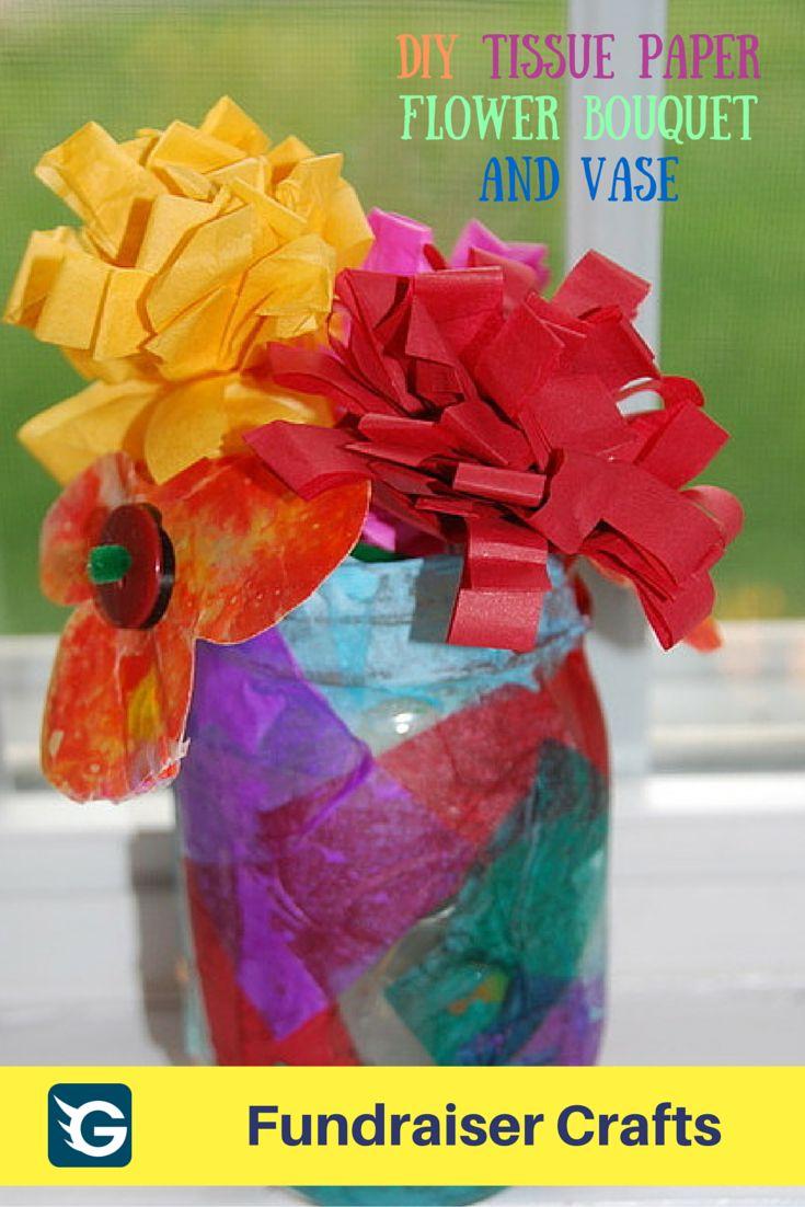 54 best fundraiser crafts images on pinterest fundraiser crafts diy tissue paper flower bouquet and vase dhlflorist Image collections