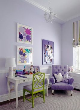 Bedroom by Rusk Renovations | desk area in bedroom | purple and green bedroom decor | white desk with green chair | purple upholstered chair | white chandelier | wall art | ideas for girls bedrooms | home decor