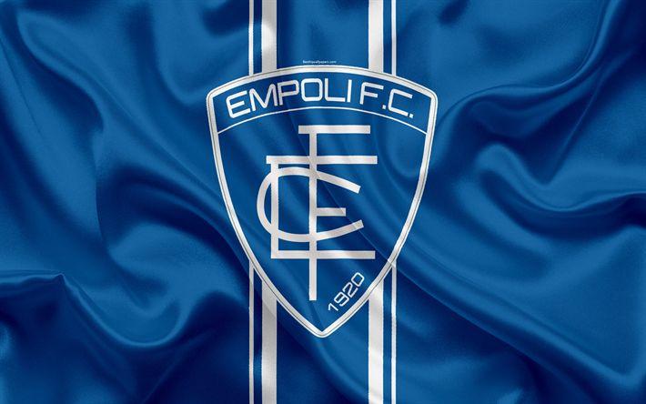 Download wallpapers Empoli FC, 4k, Serie B, football, silk texture, emblem, silk flag, Empoli logo, Italian football club, Empoli, Italy