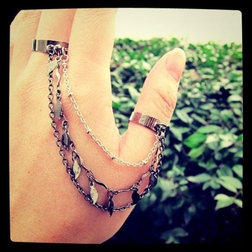 Goddess  double chain ring by KaringIsShering on Etsy, $20.00