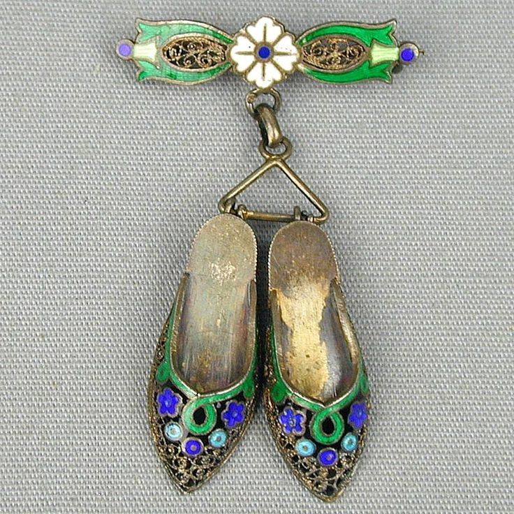 Vintage Topazio 900 Silver Enamel Shoes Pin Brooch Dangles from greatvintagestuff on Ruby Lane