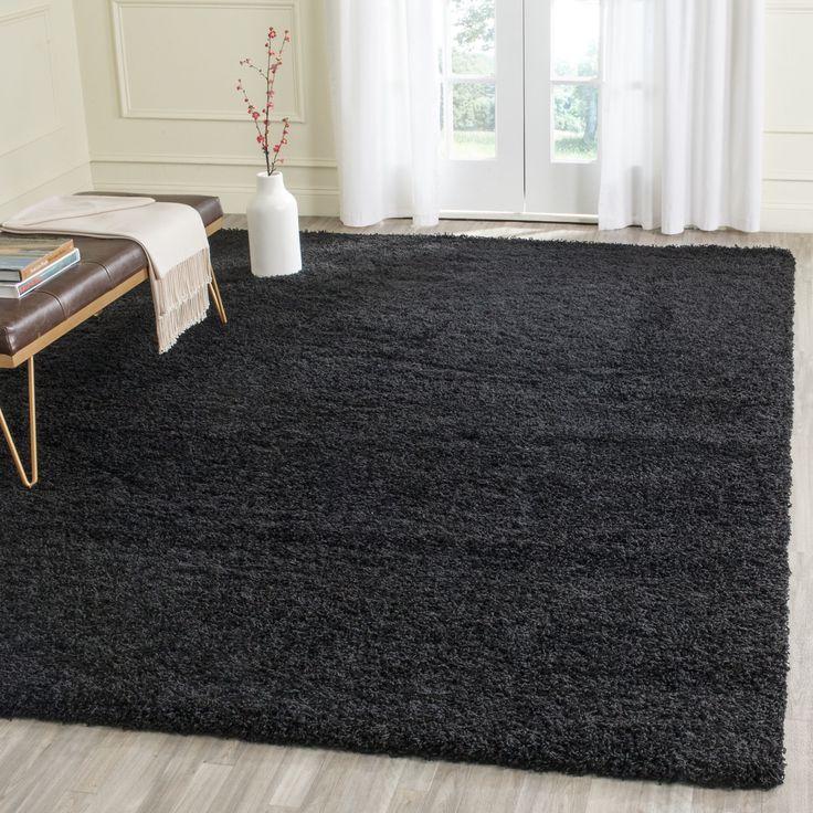Safavieh Laguna Shag Black Rug (6'7 Square) (SGL303L-7SQ), Size 7' x 7' (Polypropylene, Solid)