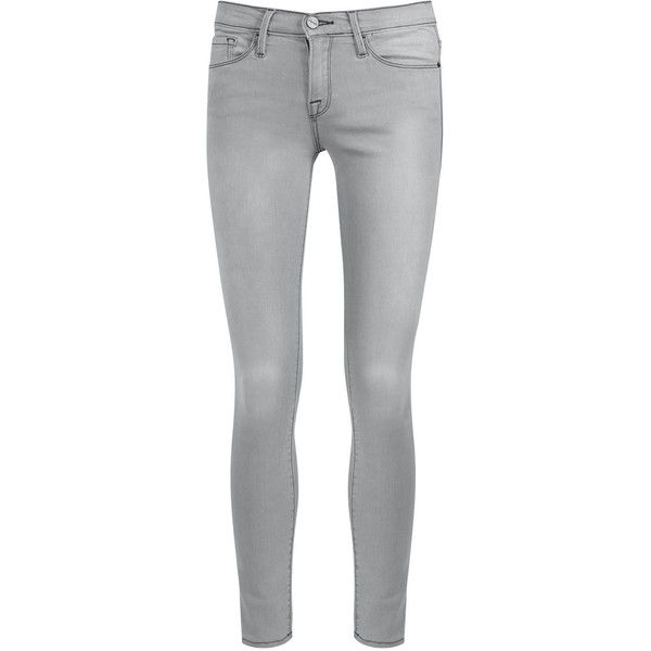 Womens Cropped Jeans Frame Denim Le Skinny De Jeanne Grey Cropped... ($295) ❤ liked on Polyvore featuring jeans, frame denim, mid rise skinny jeans, mid-rise jeans, gray skinny jeans et grey jeans