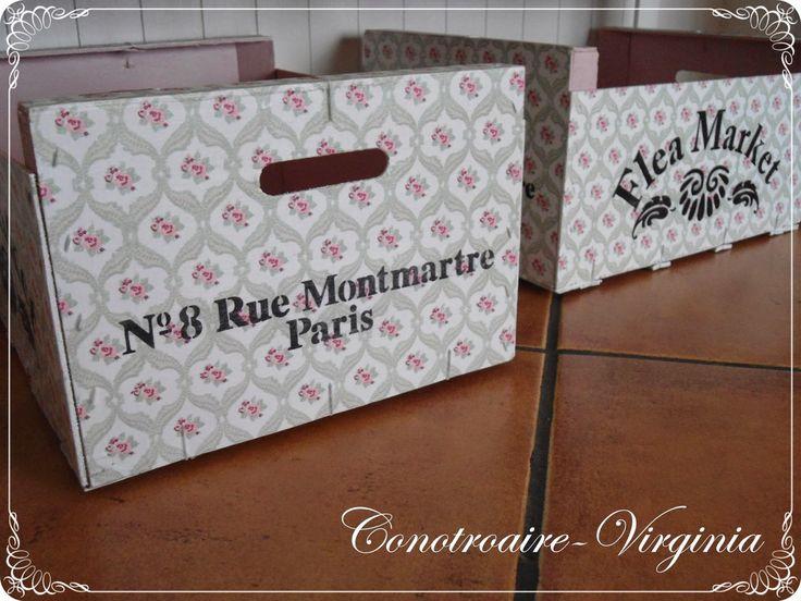 con otro aire cajas de frutas decoradas con servilleta y stencil