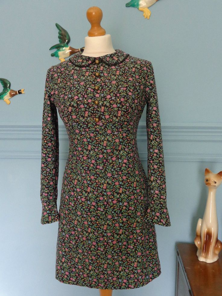 Vintage 60s Peter Pan Collar Dolly Rockers Floral Mod Dress Size Small | eBay