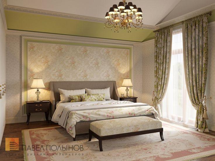Фото: Интерьер спальни родителей - Интерьер загородного дома в стиле легкой классики, КП «Альпино», 430 кв.м.