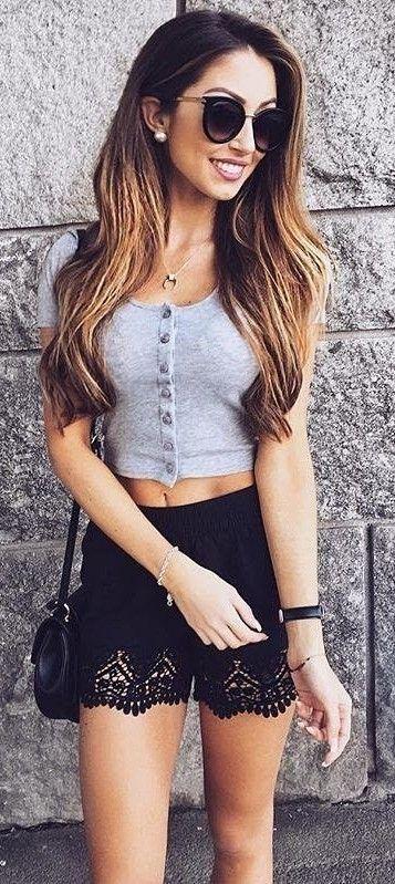Grey Crop + Black Lace Shorts                                                                             Source