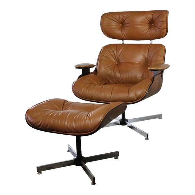 Image of Mid-Century Modern Plycraft Eames-Style Lounge Chair & Ottoman