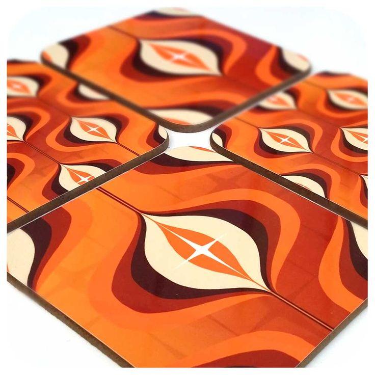 1970s Op Art Coaster Set - Orange Coasters - Retro Coaster Set - Orange Decor - Retro Home Decor - Retro Wedding Gift - Retro 70's Decor by Inkabilly on Etsy https://www.etsy.com/listing/276354914/1970s-op-art-coaster-set-orange-coasters