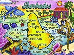 High quality fridge magnet featuring colourful Barbados map and island scenes.