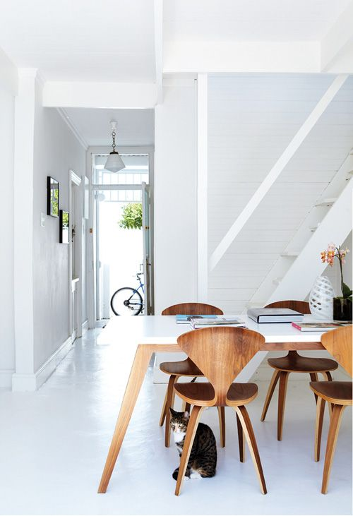 wood chairs + white table