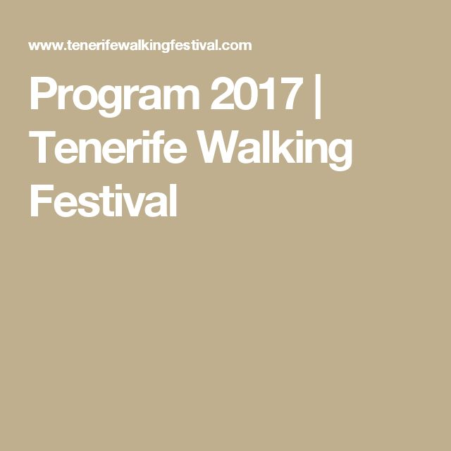 Program 2017 | Tenerife Walking Festival