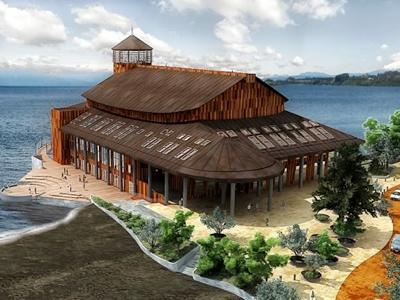 Teatro en el lago LLanquihue, en la ciudad de Frutillar, en el sur del pais.