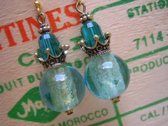 Handmade Crystal Brass and Venetian Glass Dangle by Fredastore -$25.00
