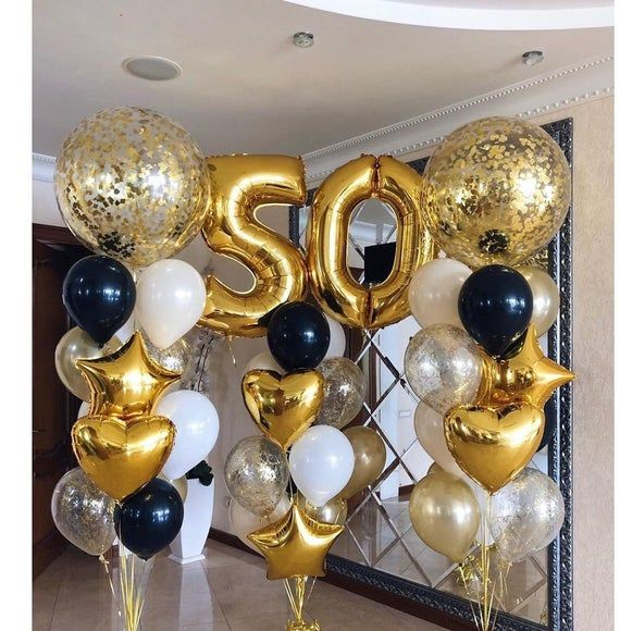 White Black Gold Balloon Bouquet Happy 21 Birthday Decorations Gold Numbers In 2020 Black And Gold Balloons Black And Gold Party Decorations 50th Birthday Balloons